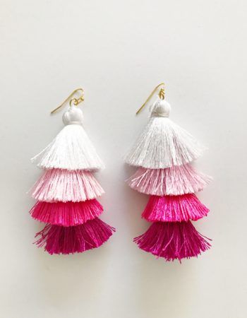 Pink Ombre Tassel Earrings