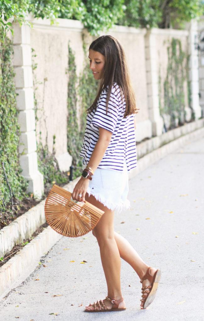Casual Striped Tee & Wicker Bag