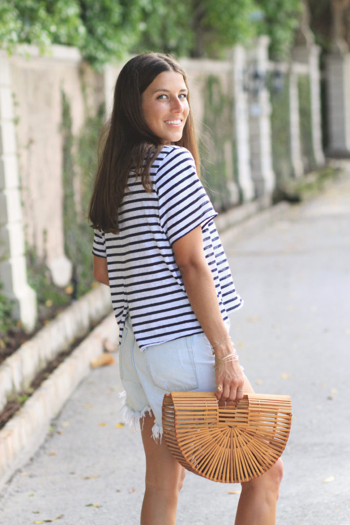 Casual Striped Tee & Sandals