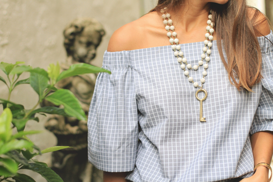 Grey Checkered Off The Shoulder Top