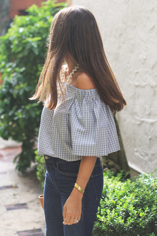 Grey Checkered Off The Shoulder Top details