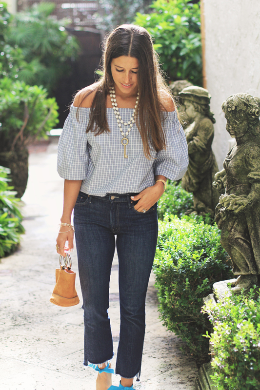Grey Checkered Off The Shoulder Top & Jeans