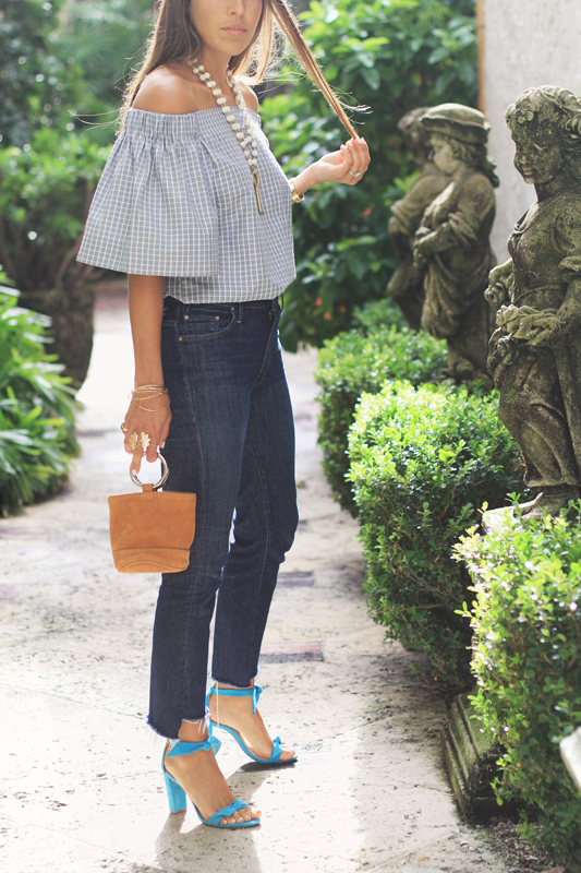 Grey Checkered Off The Shoulder Top & dark jeans