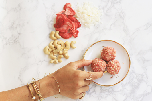 Strawberries and Cream Bliss Balls Snack