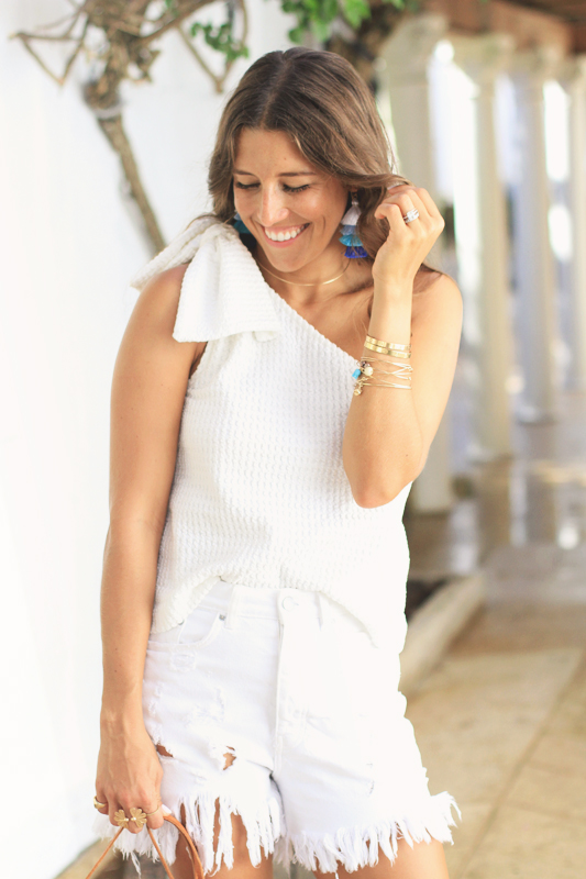 One Shoulder Top with Bow Detail All White