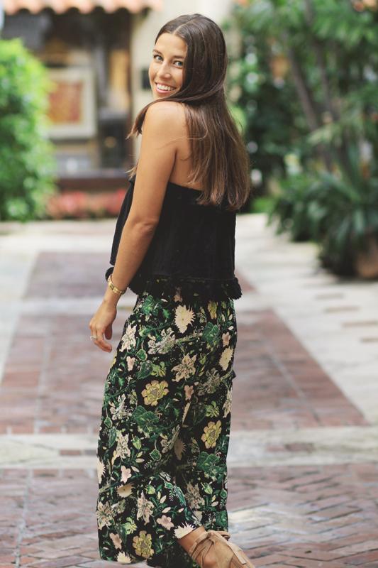 Floral Cropped Pants & Black Tassel Top