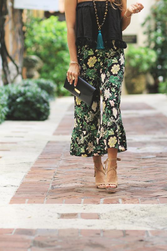 Floral Cropped Pants Heels