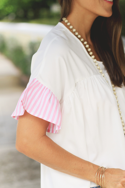 Palm Print Purse & Striped top
