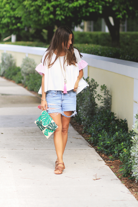 Palm Print Purse& Denim Cutoffs