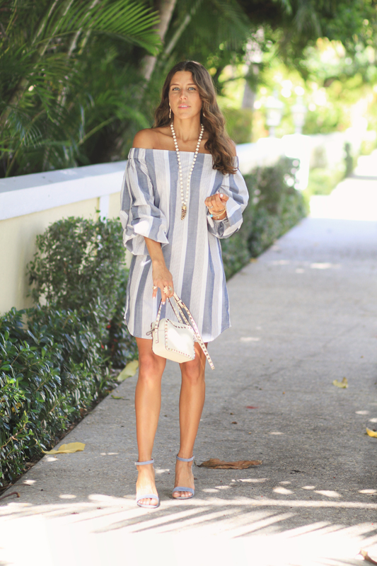 Grey Striped Dress & Valentino Bag