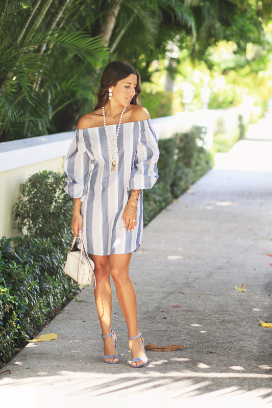 Grey Striped Dress Off The Shoulder