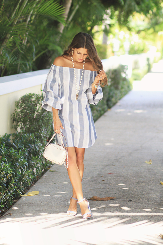 Grey Striped Dress Handmade