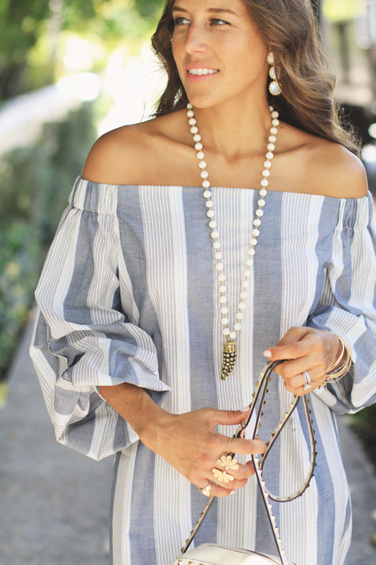 Grey Striped Dress & Horn Necklace