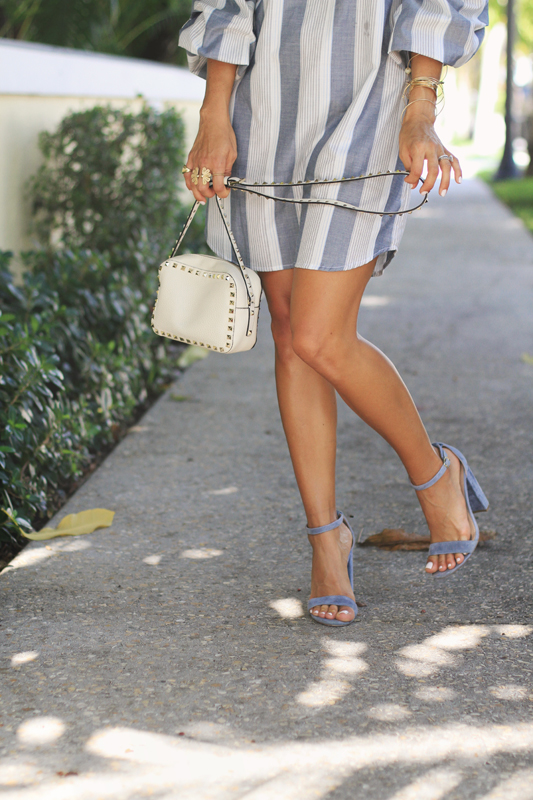 Grey Striped Dress + Steve Madden Heels