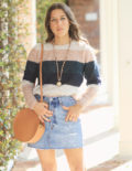Striped Sweater & Denim Skirt for Fall