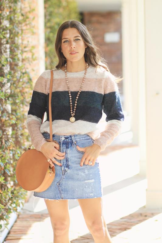 Striped Sweater & Denim Skirt for Fall