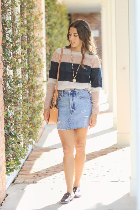 Striped Sweater & Denim Skirt & Circle Bag