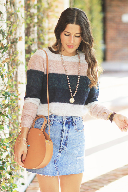 Striped Sweater & Denim Skirt for Fall Time