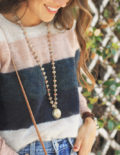 Striped Sweater & Denim Skirt for Fall with Very Allegra Necklace