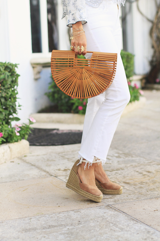 White Jeans & Wood Clutch