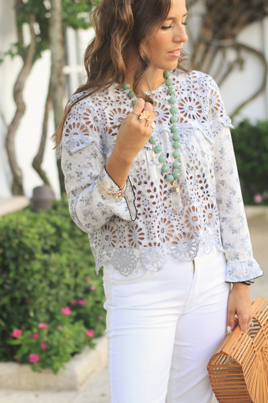White Jeans & Ganni Top