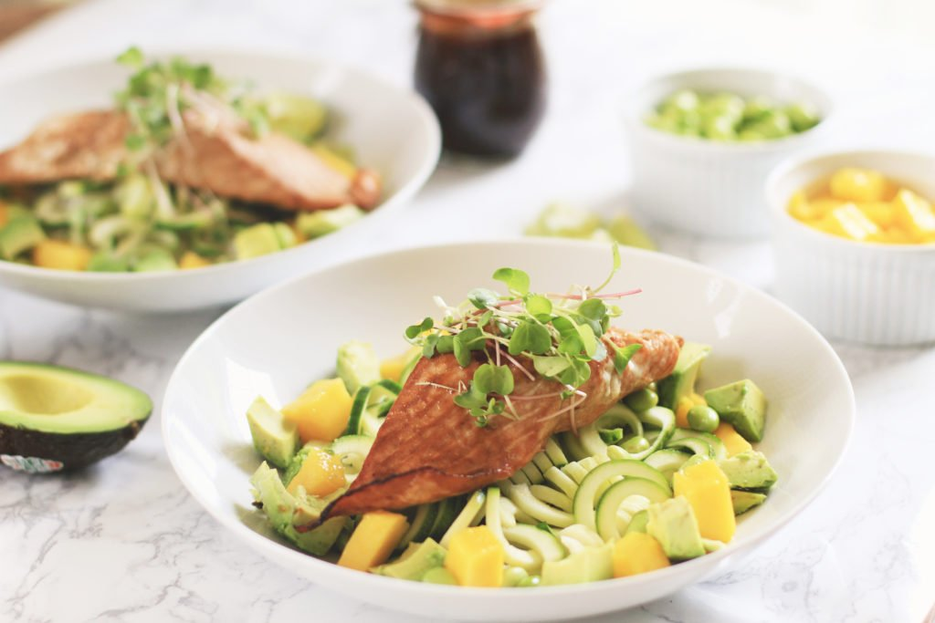 Favorite Asian Salmon Bowls with zoodles and mango