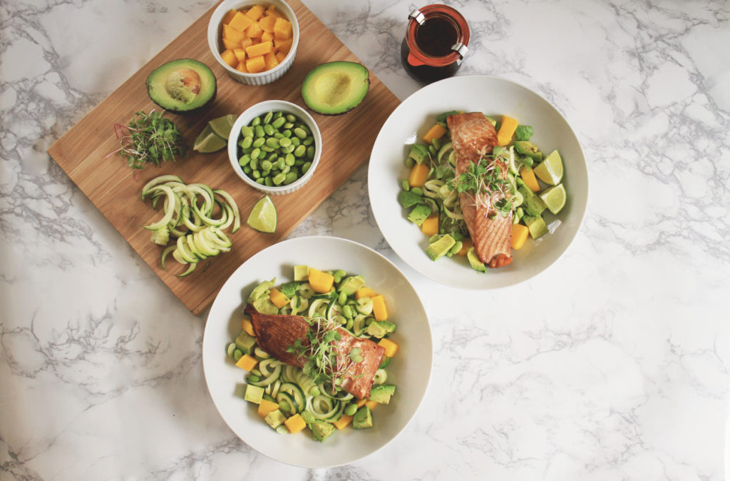 Favorite Asian Salmon Bowls with all the toppings