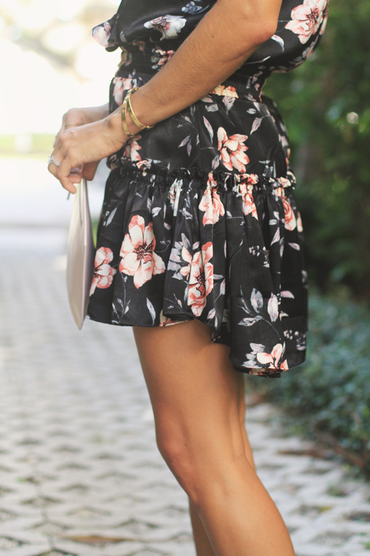 Black Silky Floral Dress Details