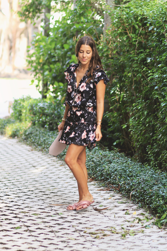 Black Silky Floral Dress & Pink Slides in Palm Beach