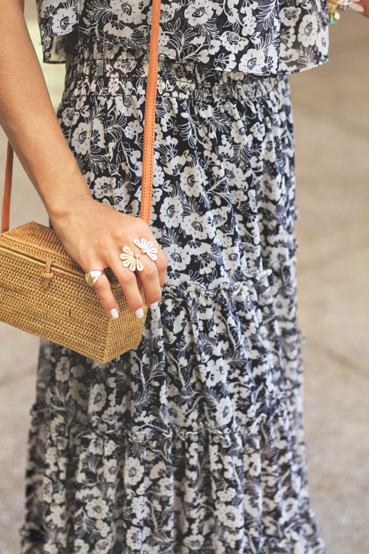 Floral Bow Maxi Dress & wicker bag