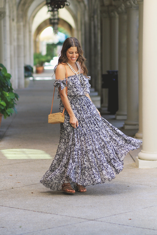 Floral Bow Maxi Dress Twirling