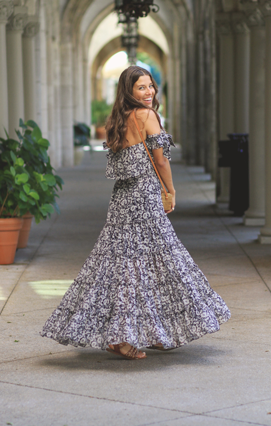 Floral Bow Maxi Dress Twirl