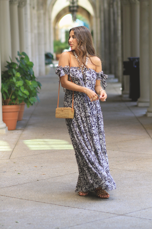 Floral Bow Maxi Dress by MISA Los Angeles