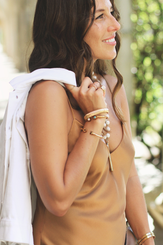 Bronze Silk Slip Dress bracelets