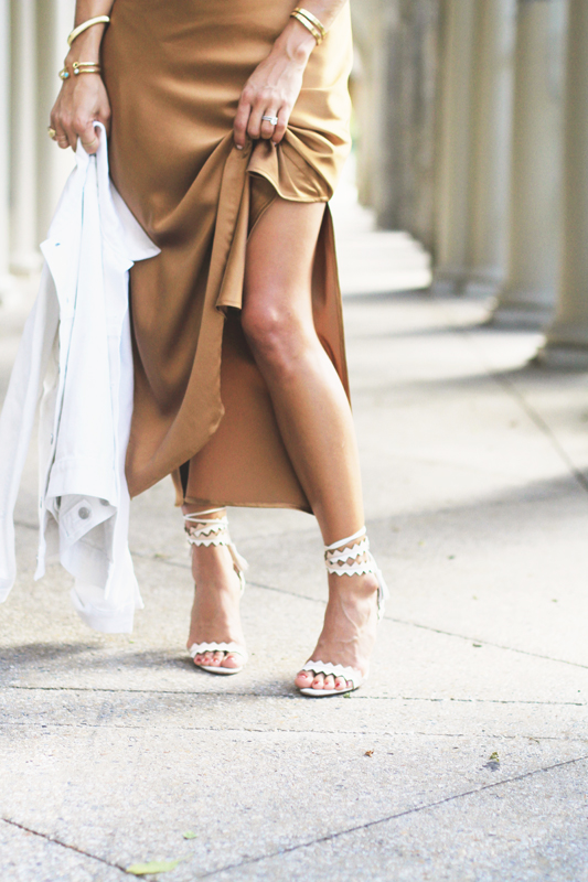 Bronze Silk Slip Dress & Schutz