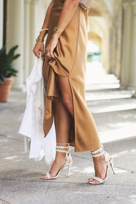 Bronze Silk Slip Dress details
