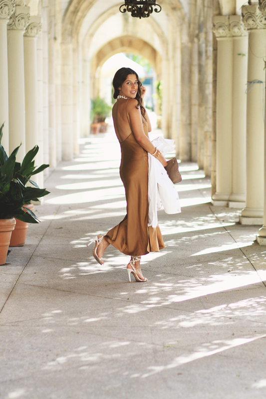 Bronze Silk Slip Dress 1