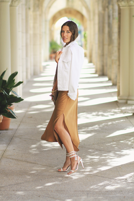 Bronze Silk Slip Dress and white denim jacket