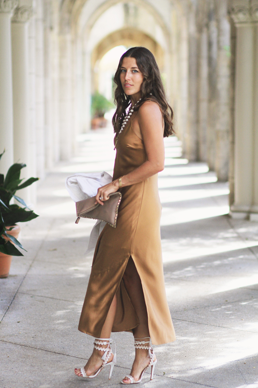 Bronze Silk Slip Dress style