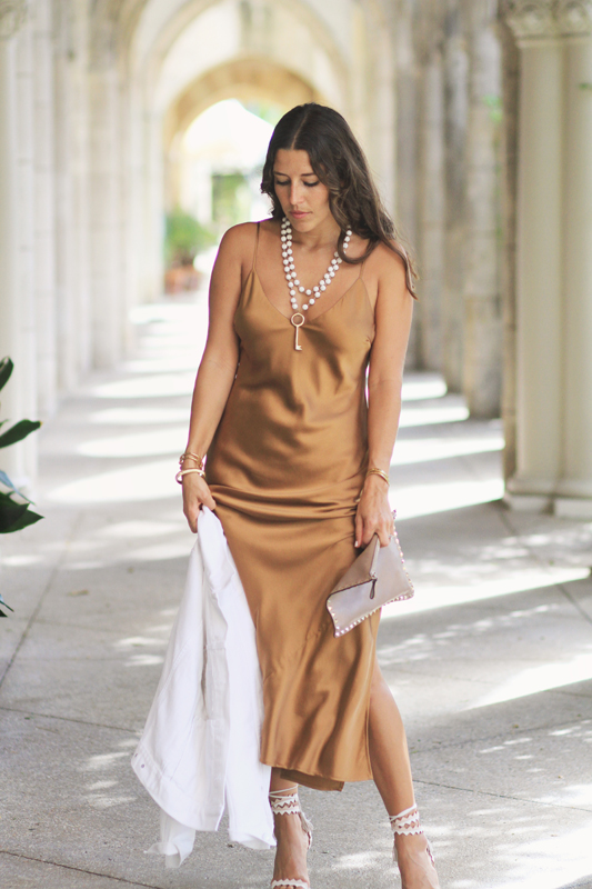 Bronze Silk Slip Dress & Valentino Clutch