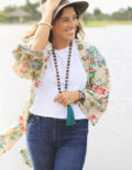 Floral Kimono & Dark Wash Jeans