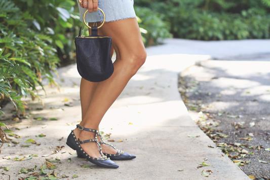 Navy Ruffle Sweater + Valentino Sandals