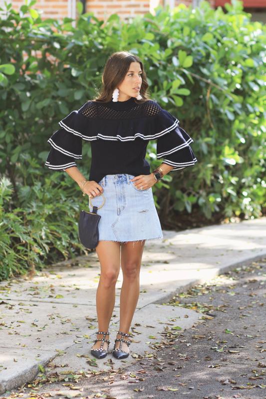 Navy Ruffle Sweater Full Look