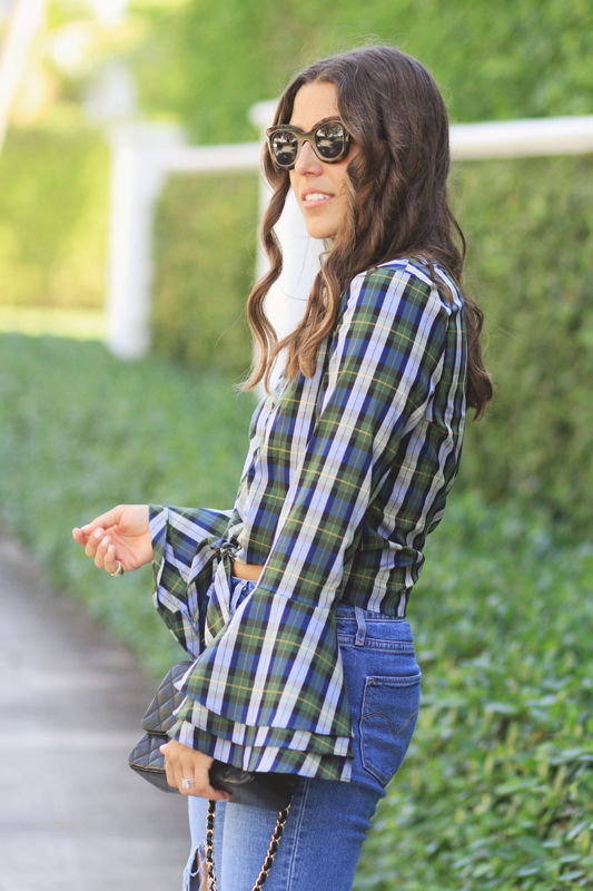 Plaid Tied Top with Bell Sleeves