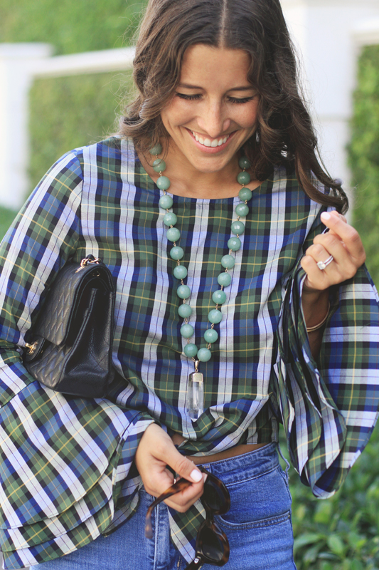 Plaid Tied Top & Ripped Jeans + Very Allegra Necklace