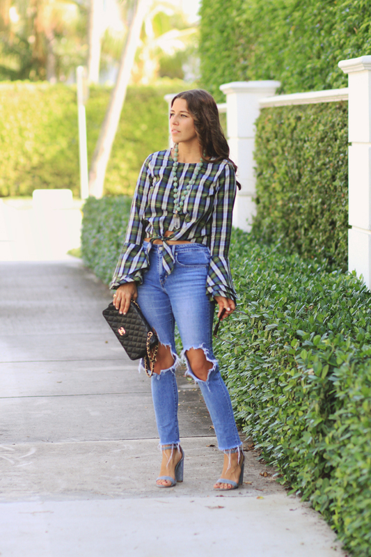 Plaid Tied Top & Ripped Jeans & Chanel