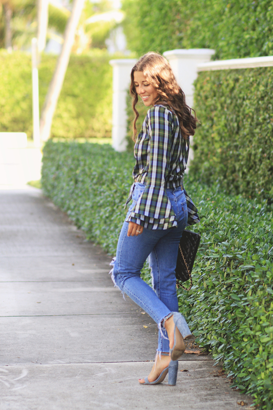 Plaid Tied Top & Ripped Jeans 1