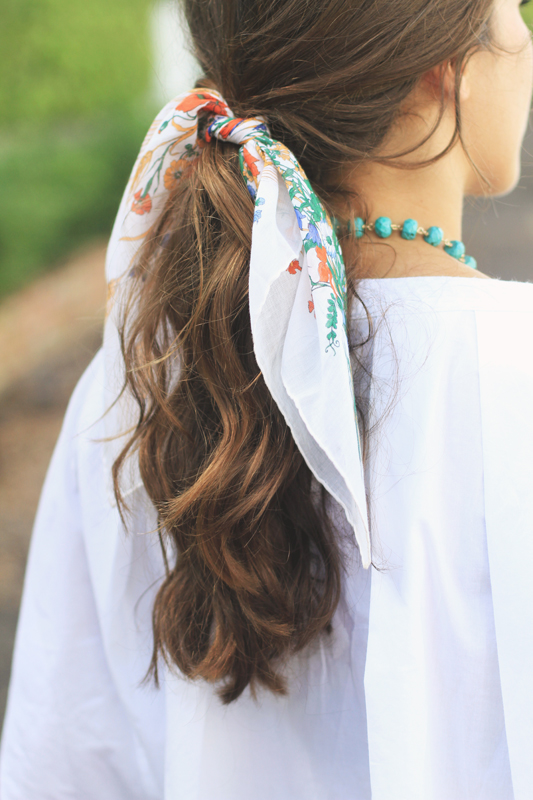 Scarf Hairstyle & a Simple Denim Look 4