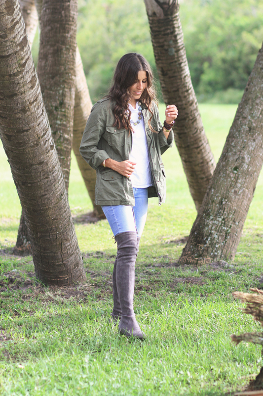 Army Green Jacket & Over The Knee Boots