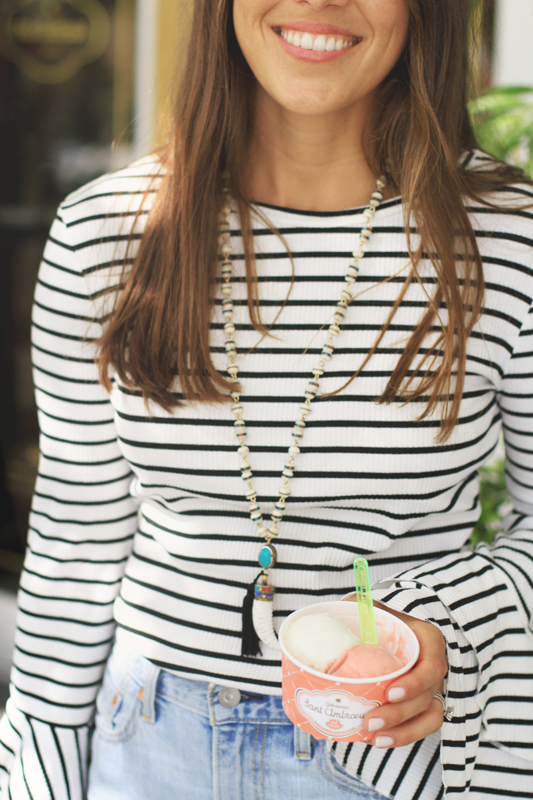 Striped Bell Sleeves & Gelato at The Royal